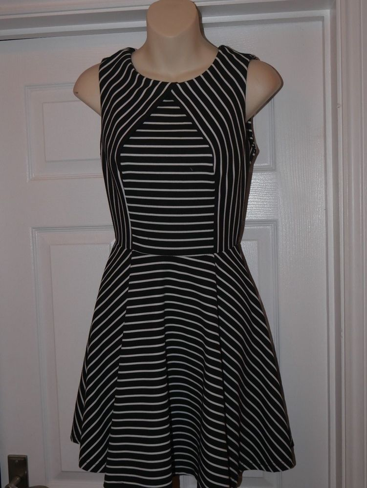 c6894c2a8f1b Ladies Black   White Stripe New Look Skater Dress Size 8 Flattering  Versatile  fashion  clothing  shoes  accessories  womensclothing  dresses  (ebay link)