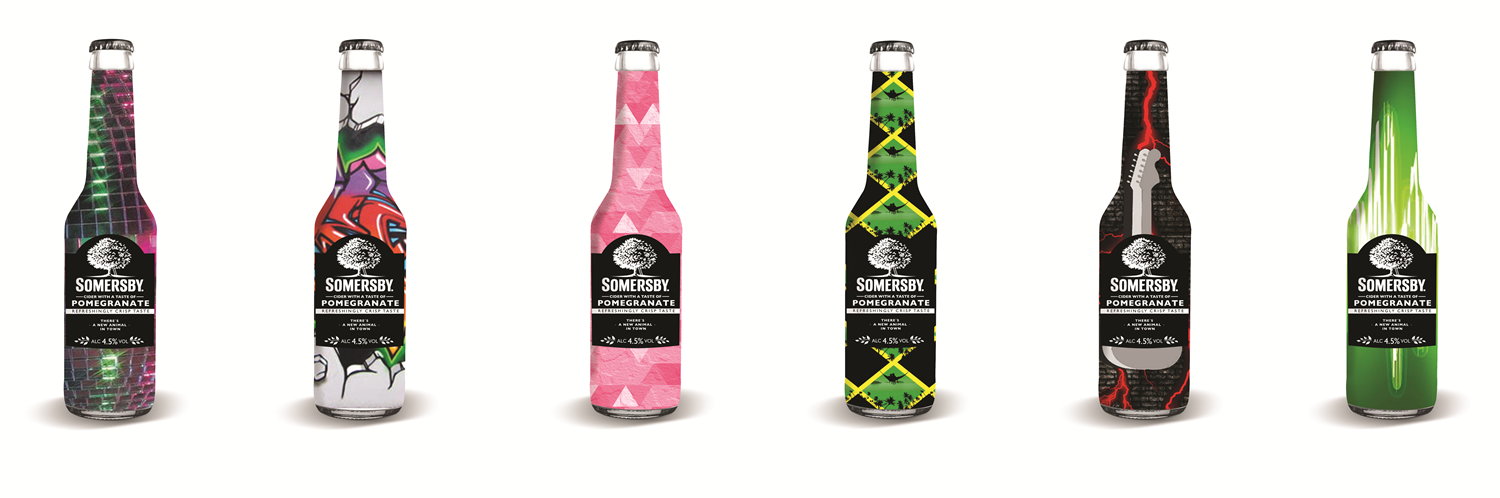 Somersby Unlimited were in the process of planning a new campaign, where we were given the task of designing six new Somersby bottles, as well as posters and an actuating. We chose after making interviews and fieldreseach, to run a music theme, since music is a big part of urban life. Our 6 bottles each got their music genre, a pop bottle, a rock bottle, a hiphop bottle, a reggae bottle, a techno bottle and a disco bottle.