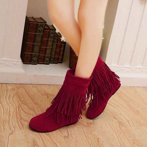 Damens Casual Stiefel Outdoor Tassel Round Round Round Toe Slip On Flat Schuhes ... 1f316e