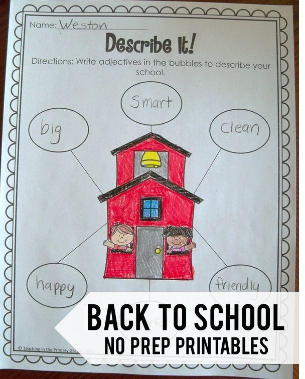 No Prep Back to School Math and Literacy Printables | Fun math ...
