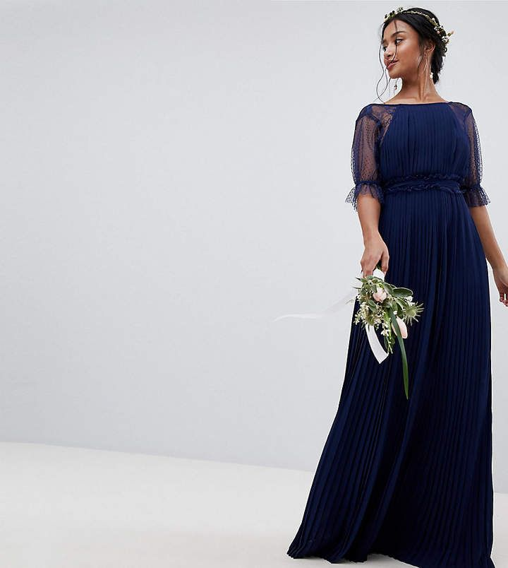 Petite Pleated Maxi Bridesmaid Dress With Spot Mesh Frill ...
