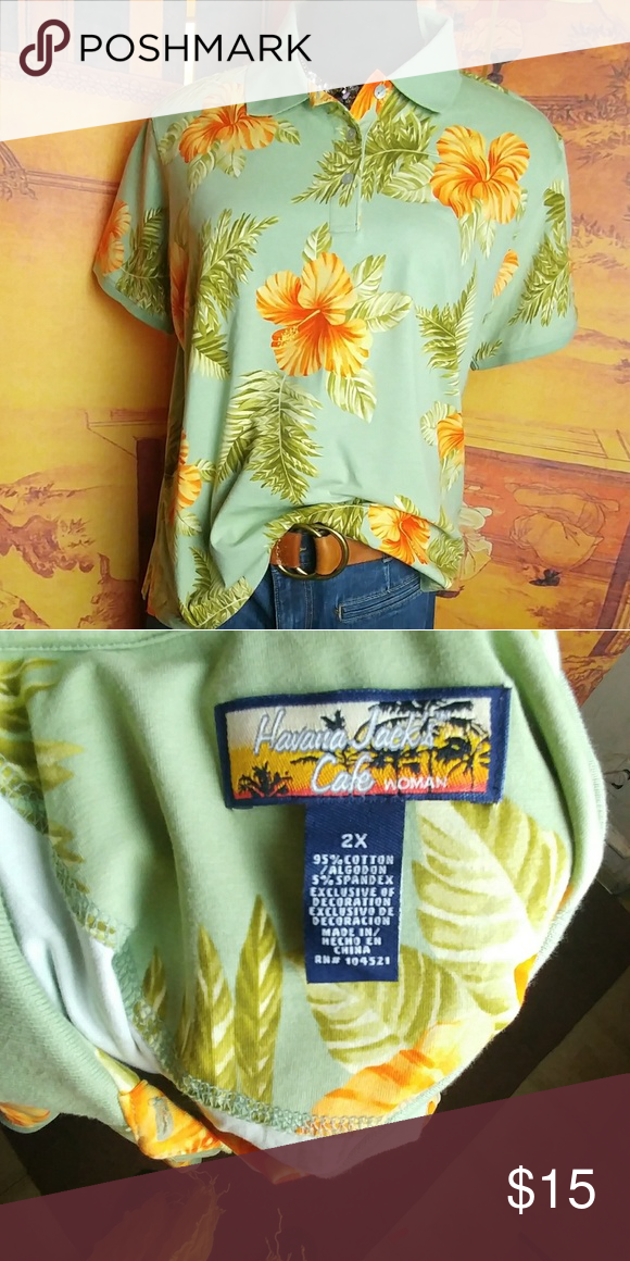 Havana Jack's Hawiian print Polo Perfect condition. Never worn. Vibrant blooms against sage background, 27 inches pit to pit, 26.5 in length. Side slits. Topstitching throughout. Very good quality. Cotton/spandex blend. Subtle sheen to fabric. Machine wash. Very good piece to add to any wardrobe. Smoke free home. If you have any questions, please feel free to ask Tops