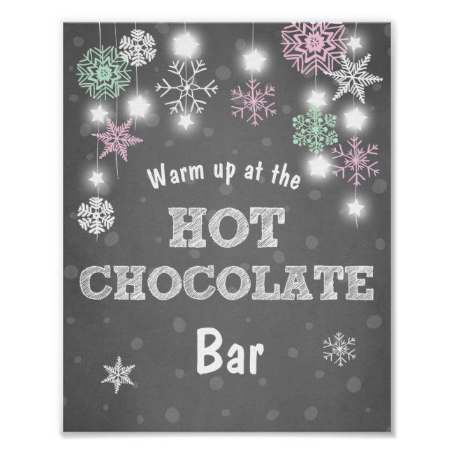 Hot Chocolate Bar Sign Pink snowflakes Rustic | Zazzle.com
