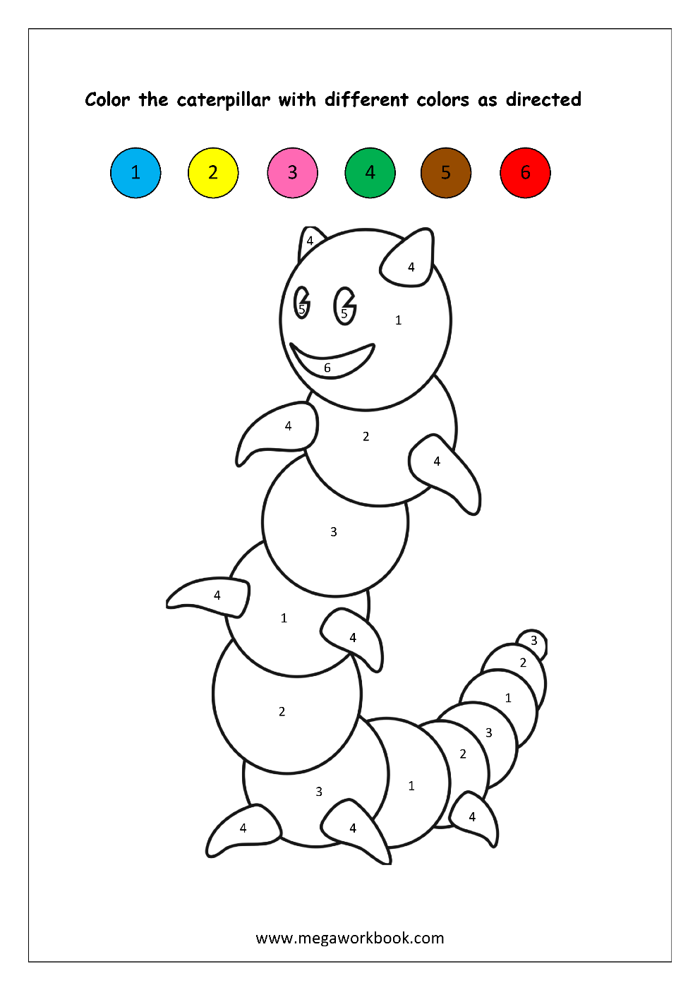 Color recognition worksheet color by number caterpillar preschool colors free preschool preschool