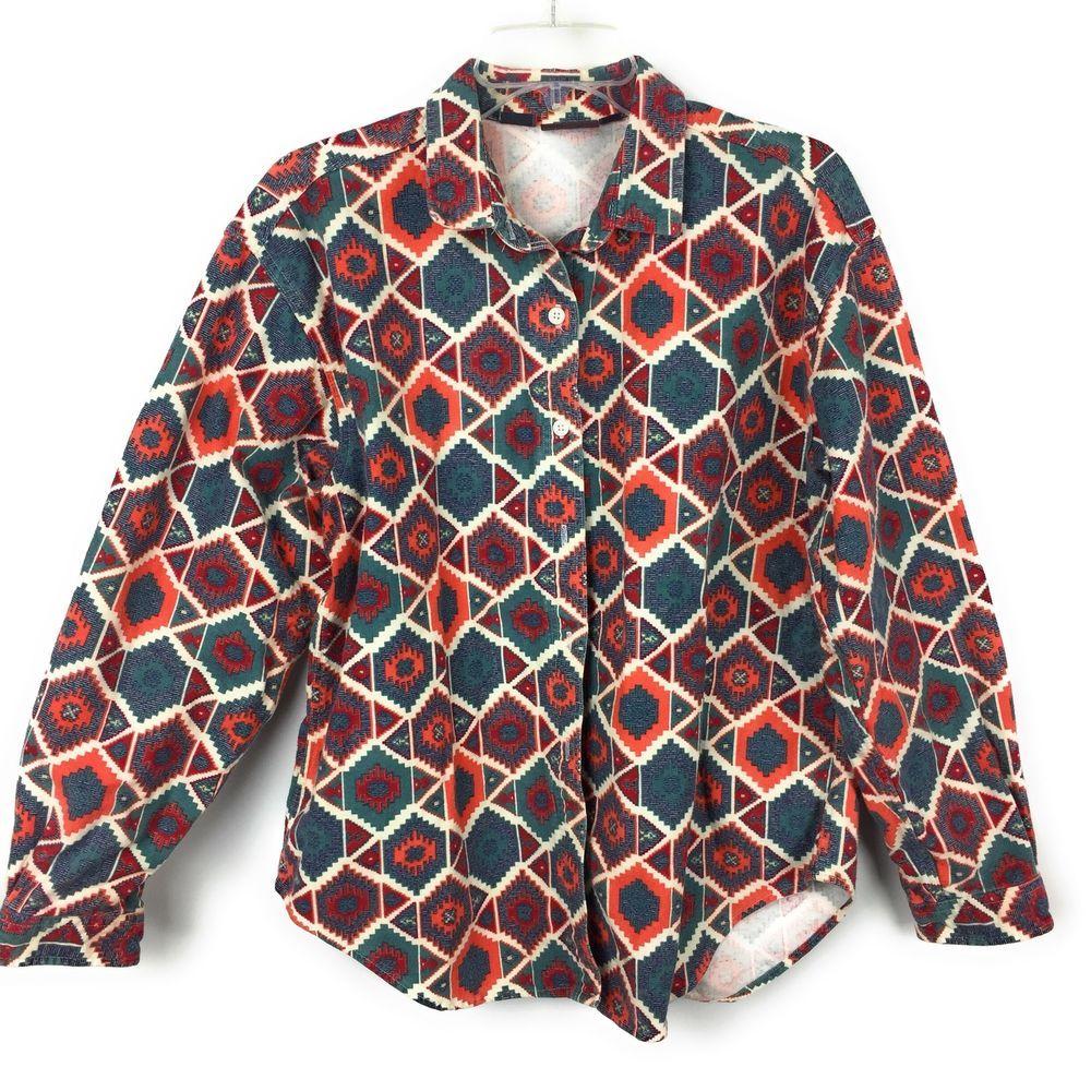 Orange flannel jacket  Woolrich Unisex Vintage Southwestern Aztec Button Front Flannel