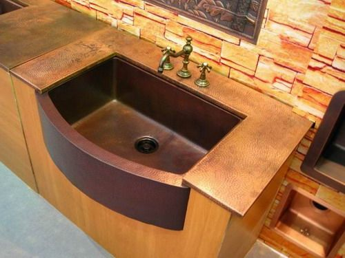 Large Rounded Front Copper Farmhouse Kitchen Sink Star Design In Matte Available At Coppersinksonline Sinks