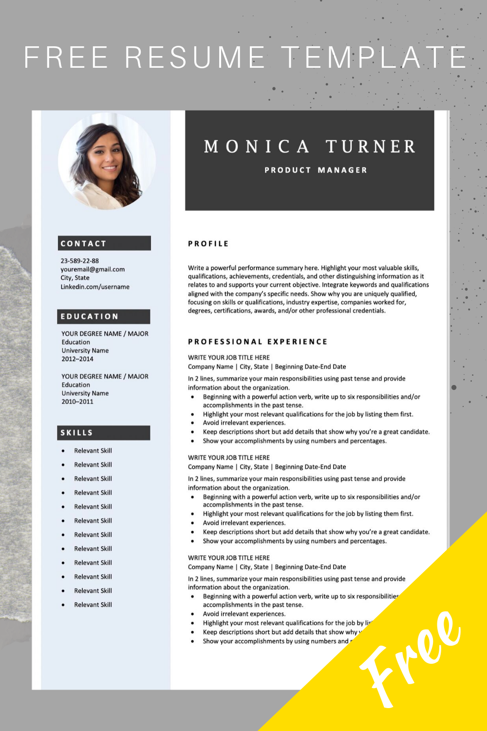 Download This Professional Resume Template You Can Easily Adjust It In M Free Resume Template Word Microsoft Word Resume Template Downloadable Resume Template