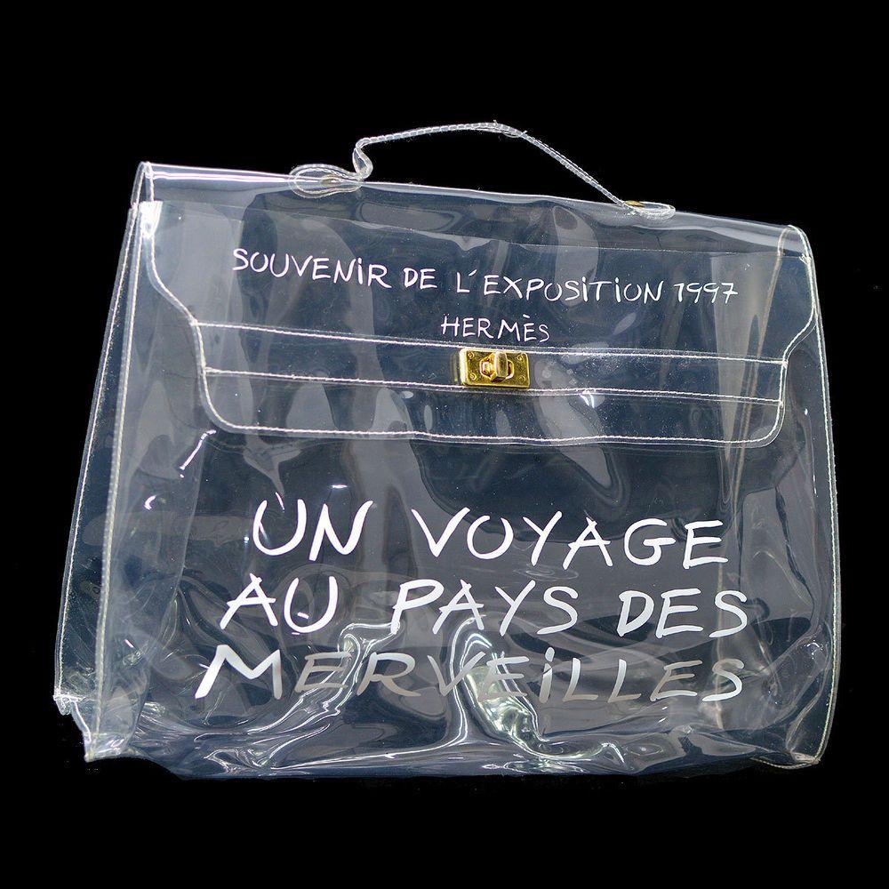 4458c6154641 Authentic HERMES Vinyl Kelly Hand Bag Clear SOUVENIR DE L EXPOSITION 1997.  Pocket Outside  -. Material Vinyl. Style Hand Bag. Handle Drop. 1.6