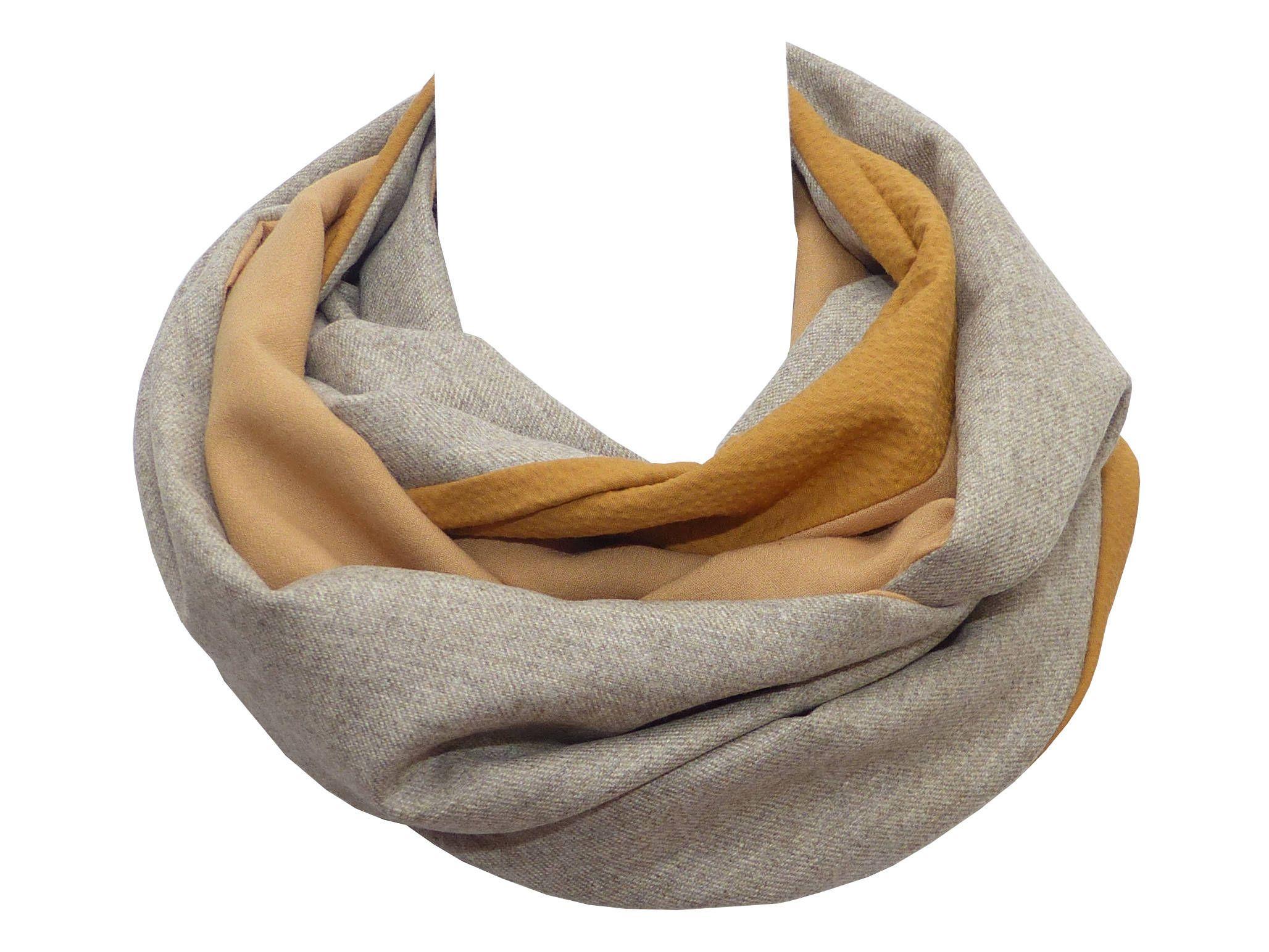 85a6c22f3378 Polina Couture - Echarpe Snood Patchwork Laine Haute Couture, alliant grege  (gris beige), camel et jaune moutarde, tour de cou avec coton gaufre