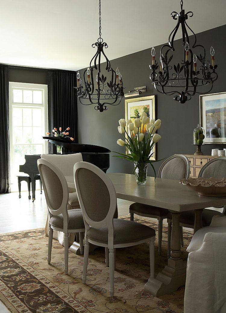 Sophisticated Traditional Dining Room With Black Curtains In The Backdrop Design J Hirsch Interior