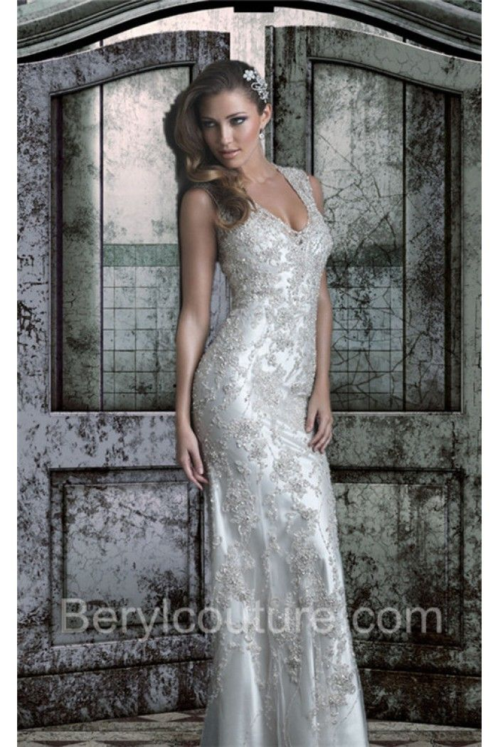 Lovely Slim Fitted V Neck Open Back Lace Beaded Sparkly Wedding Dress