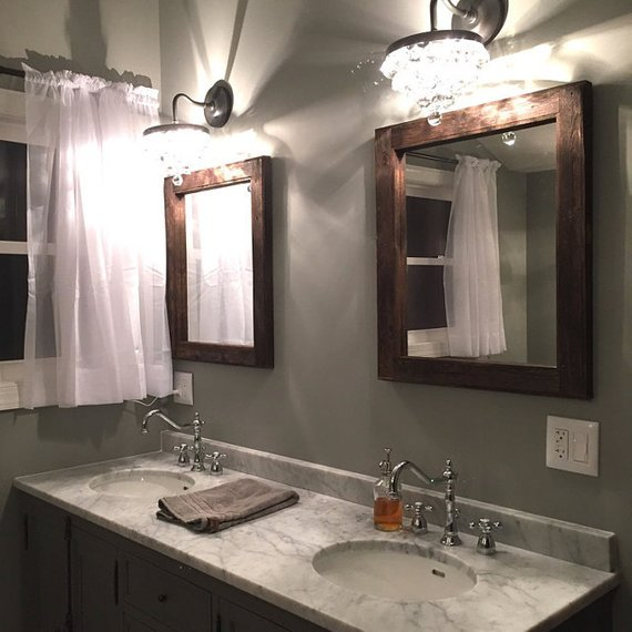 Mirror Set Double Sink Bathroom 2 Reclaimed Wood Mirrors Size 24 X 28 Rustic Home Decor