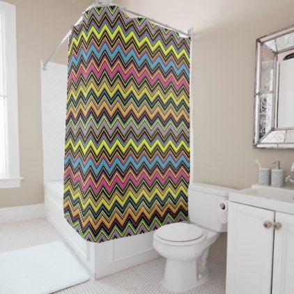 Zigzag Design, Chevron Design   Green Blue Pink Shower Curtain | Pink  Shower Curtains