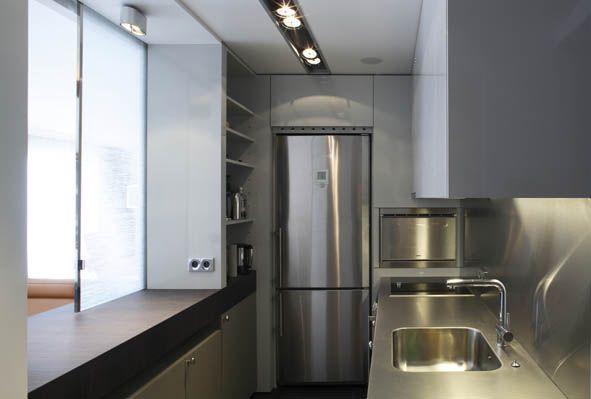 Projet Eric Gizard  Paris Avenue Foch , vue cuisine, plan de