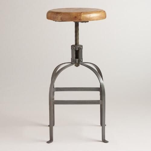 Terrific Adjustable Round Wood And Metal Stool World Market Pabps2019 Chair Design Images Pabps2019Com