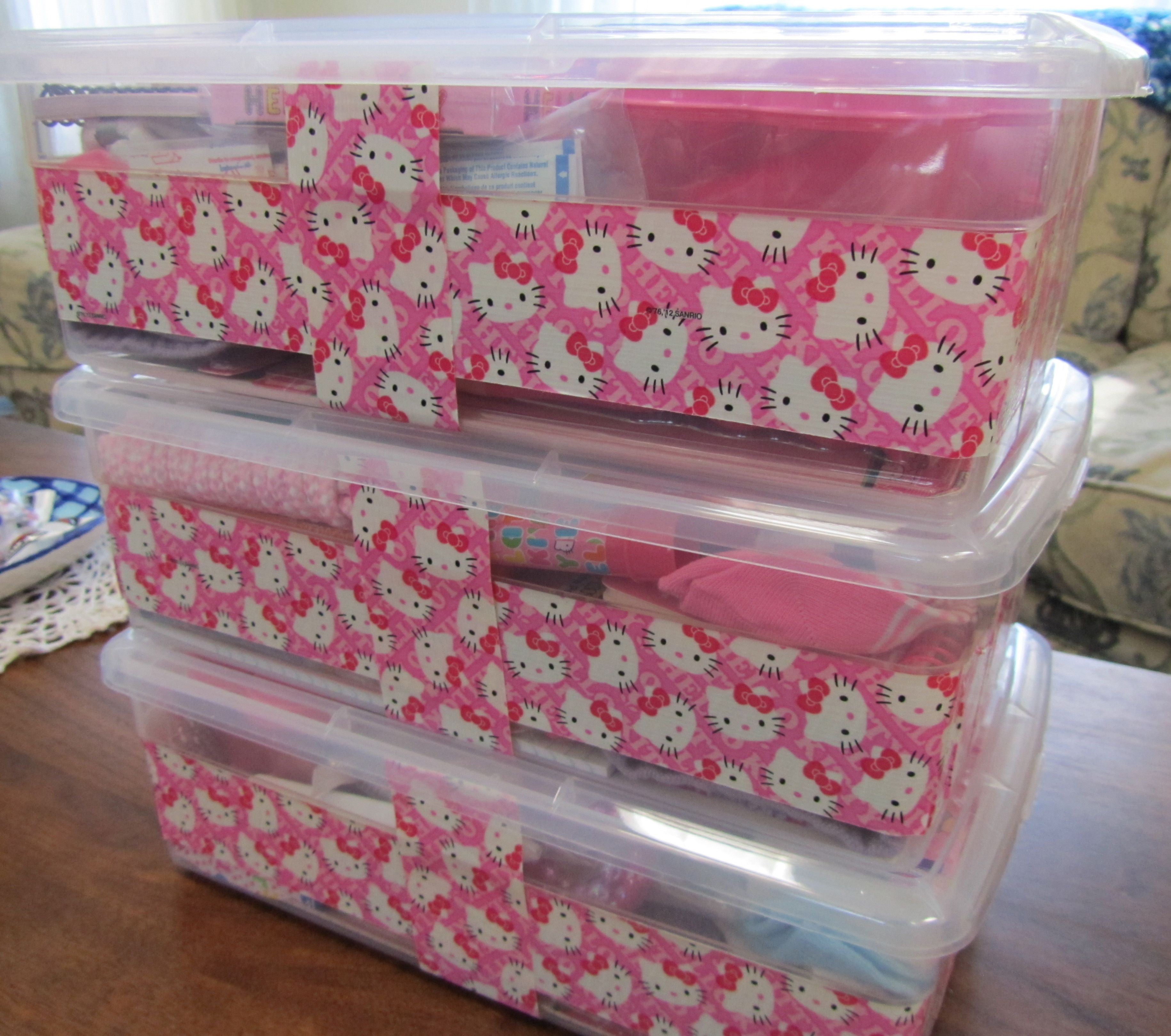 Shoe Box Decorating Ideas Hello Kitty Duck Tape Can Decorate Plastic Or Cardboard Boxes For
