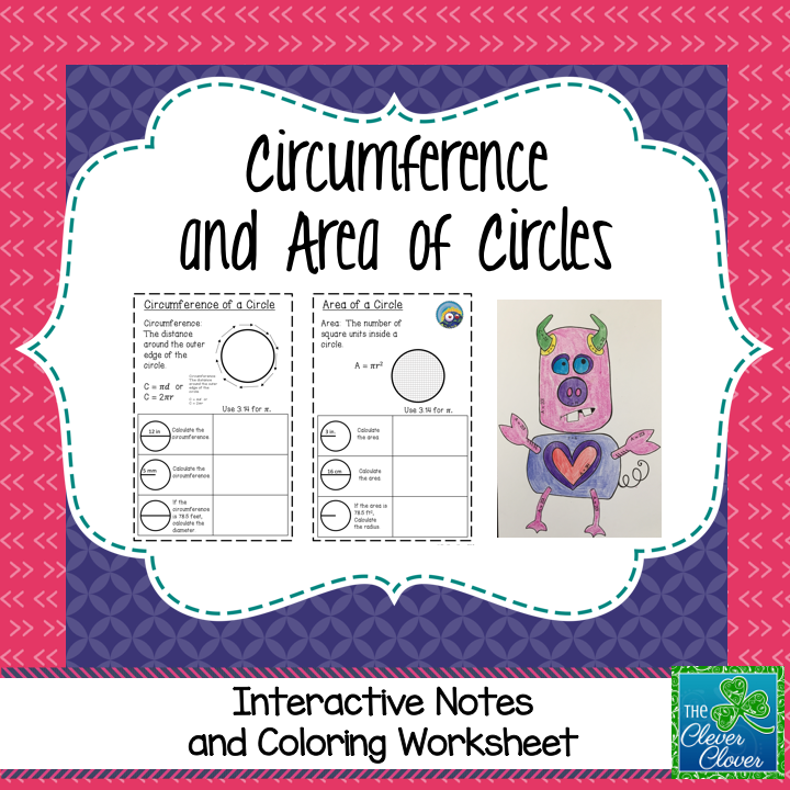 Circumference And Area Of Circles Coloring Activity Notes Color Activities Interactive Notes Middle School Math