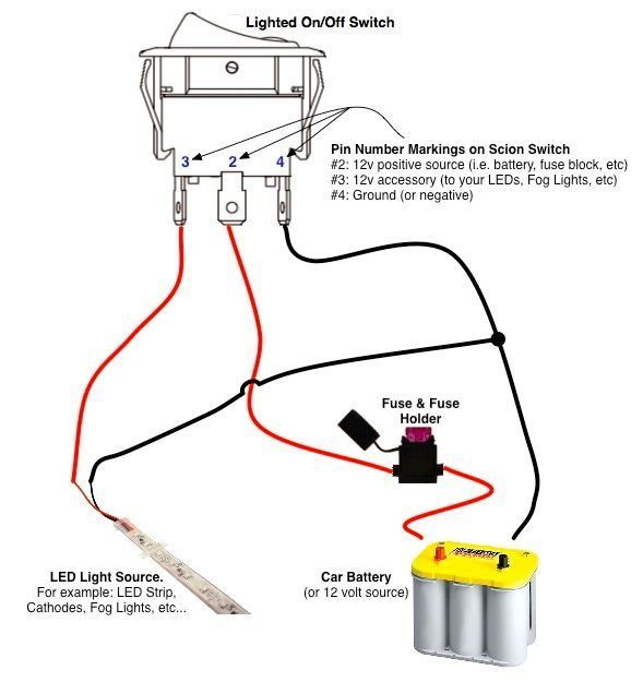 On/Off Switch & LED Rocker Switch Wiring Diagrams