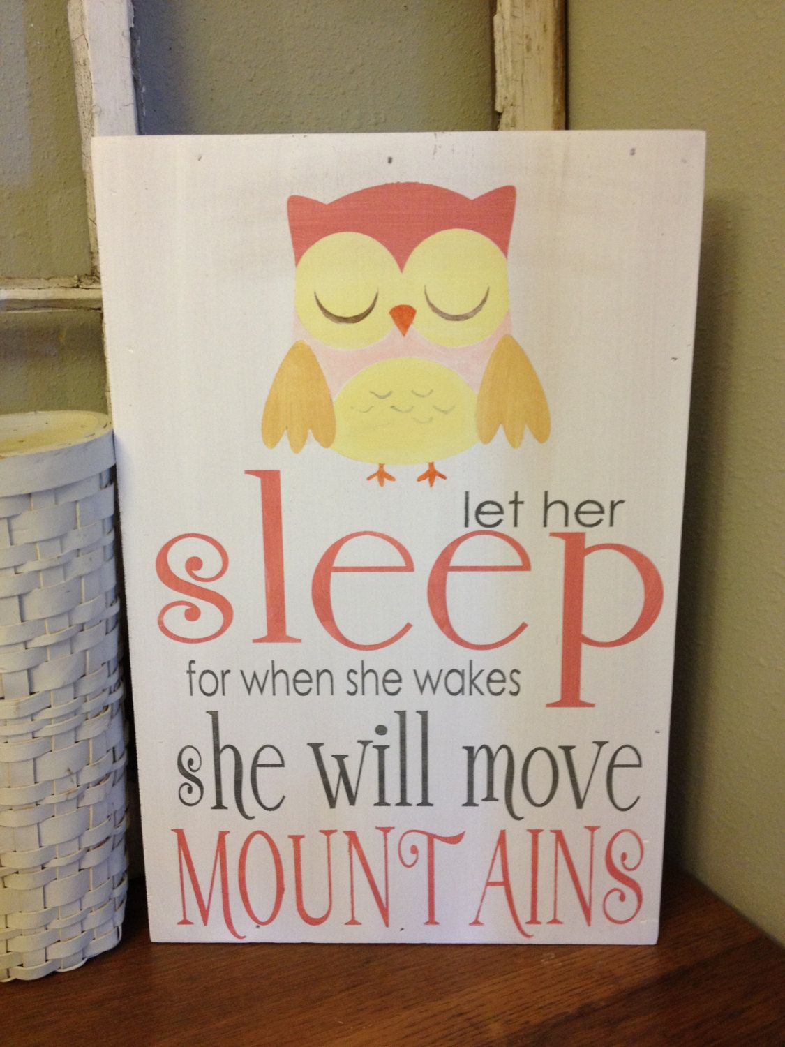Items similar to Let her sleep - owl - wall art for nursery or little girls room on Etsy & Let her sleep - owl - wall art for nursery or little girls room ...