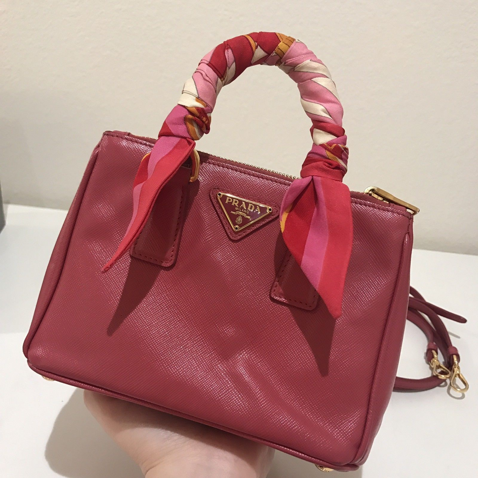 8229c952f8 PRADA Saffiano Handbag Mini Galleria Authenticity BN2842  549.0 ...