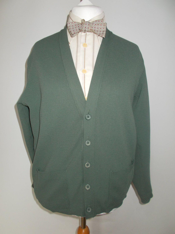 Vintage Mens Cardigan Prova Made In Great Britain Jersey Cardigan Sage Green Size Medium Chest 40 By Vintage Clothes Women Jersey Knit Cardigan Mens Cardigan