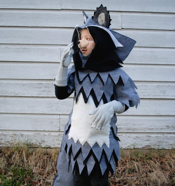 so great  / Deluxe Racoon Costume Black Grey and White Includes - school halloween costume ideas