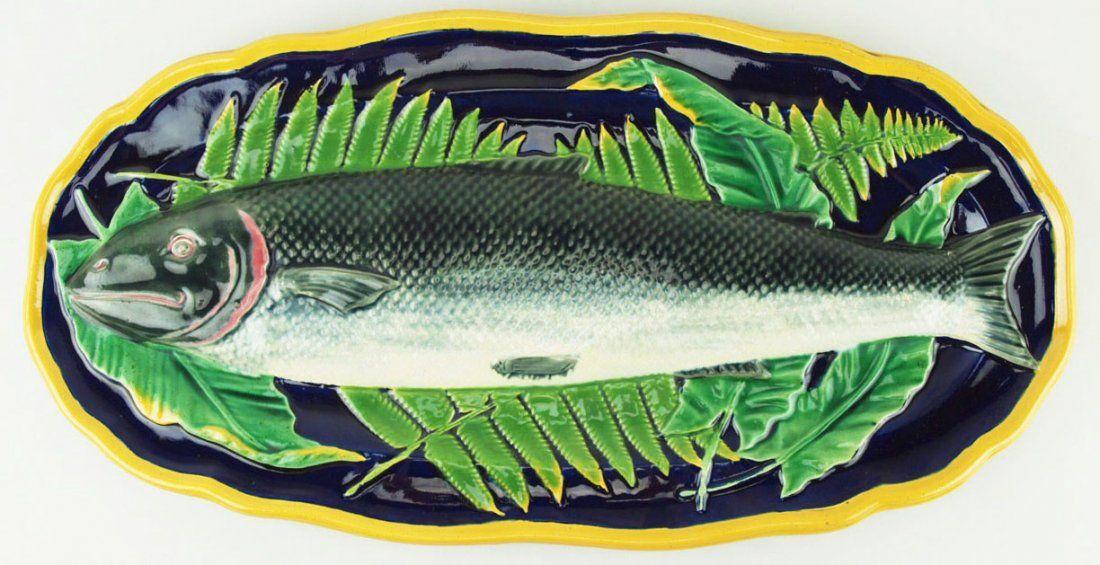 Joseph Holdcroft majolica Salmon server from a Wedgwood original