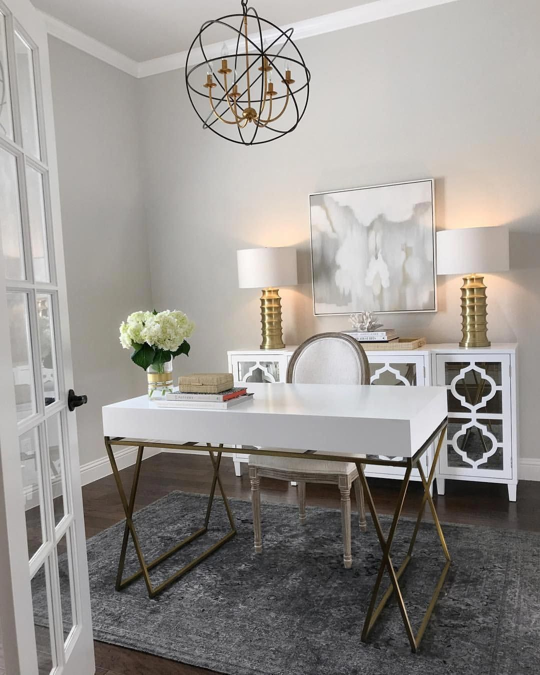 Home Office Inspiration White And Gold Desk White Mirrored Sideboard Gold Table Lamps Gray Rug Zga Home Office Decor Home Office Design Modern Home Office