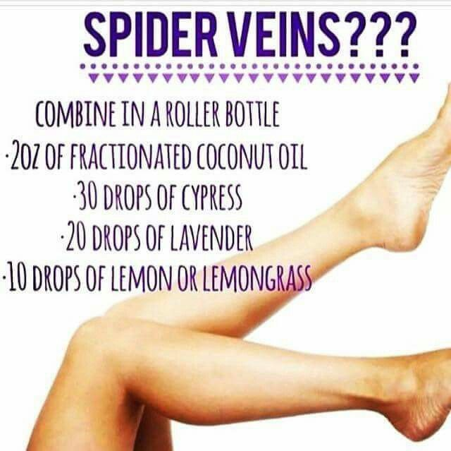 Spider Veins  (Smaller recipe - roller bottle) 6ml carrier oil,  3 drops cypress, 2 drops lavender, 1 drop lemongrass