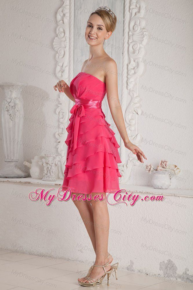 Elegant Short Ruched and Layered Hot Pink Bridesmaid Dress ...