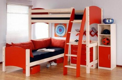 Wonderful Red Kids Bunk Beds With Stairs And Slide For Small Kids