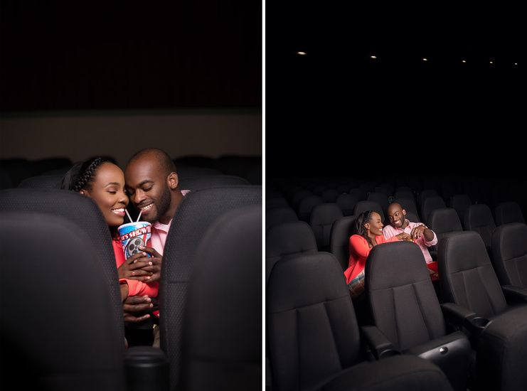 Jia And Jensen Shoot In A Movie Theatre For Creative Engagement Photos Creative Engagement Photo Engagement Photos Engagement