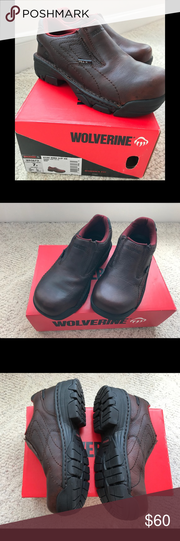 Wolverine leather steel toe Ayah boots brand new Wolverine leather steel toe Ayah WMH Slip On Peakag comp-toe brown boots brand new. Very comfortable for working boots. Make me an offer! Wolverine Shoes Ankle Boots & Booties