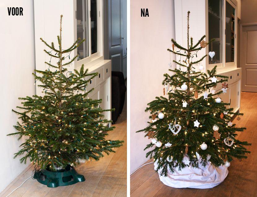 Kerstboom versieren voor en na