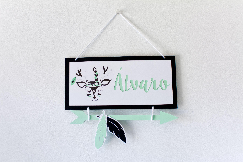 DEER Sign Personalized Baby Name Deer Nursery BLACK MINT Indian Decoration Tribal Room Birth Gift