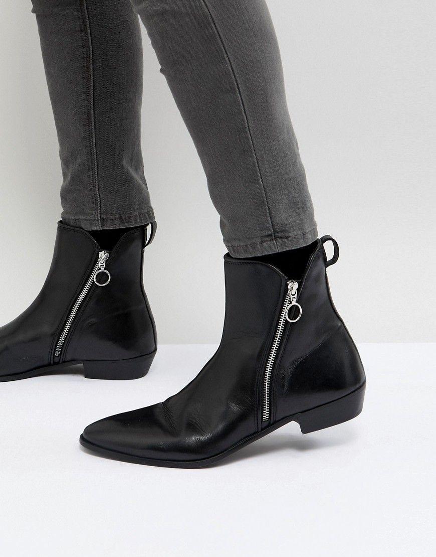 WALK LONDON Leather Zip Boots In Black cG6wNLlT
