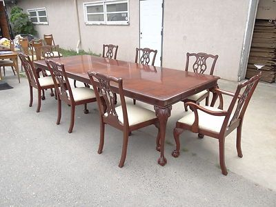 Lexington Chippendale mahogany palmer home table & 8 chairs dining ...