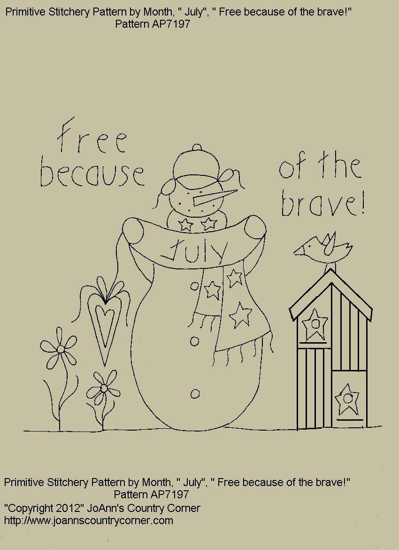 Primitive snowman stitchery epattern por pelo joanncountrycorner primitive stitchery e pattern snowman by month july free because bankloansurffo Gallery