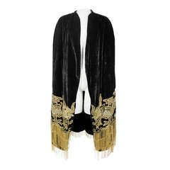 1920s Velvet Cape with Sequined Dragon Motif and Scalloped Beaded Fringe
