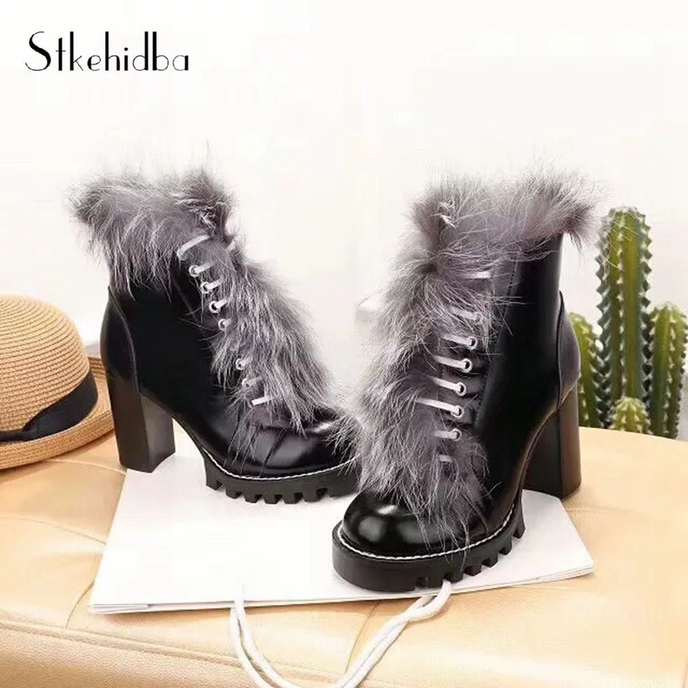 02f225e3a36 Stkehidba Top Quality Women Ankle Boots Cow Leather Thick high Heel  Platform Boots Warm Fox Fur Women s Boots Black Size 34-40 Review