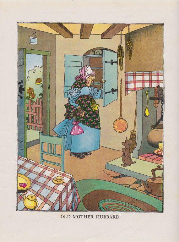 Original Vintage 1933 Mother Goose Rhymes By Antiquevintageprints Old Mother Hubbard Old Mother Hubbard