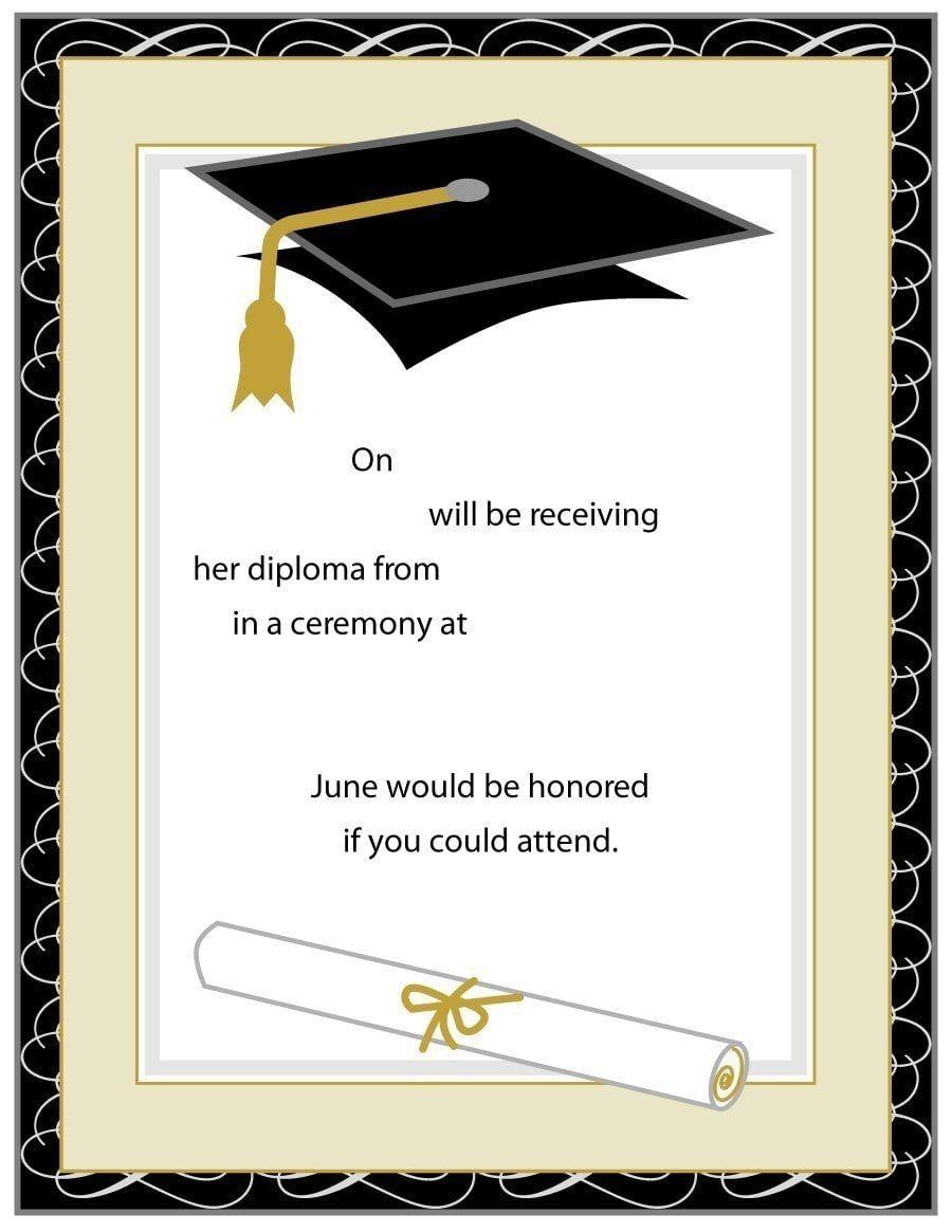 Blank Graduation Invitation Templates Graduation Invitations Template Graduation Announcement Template Graduation Party Invitations Templates Free printable graduation announcement template