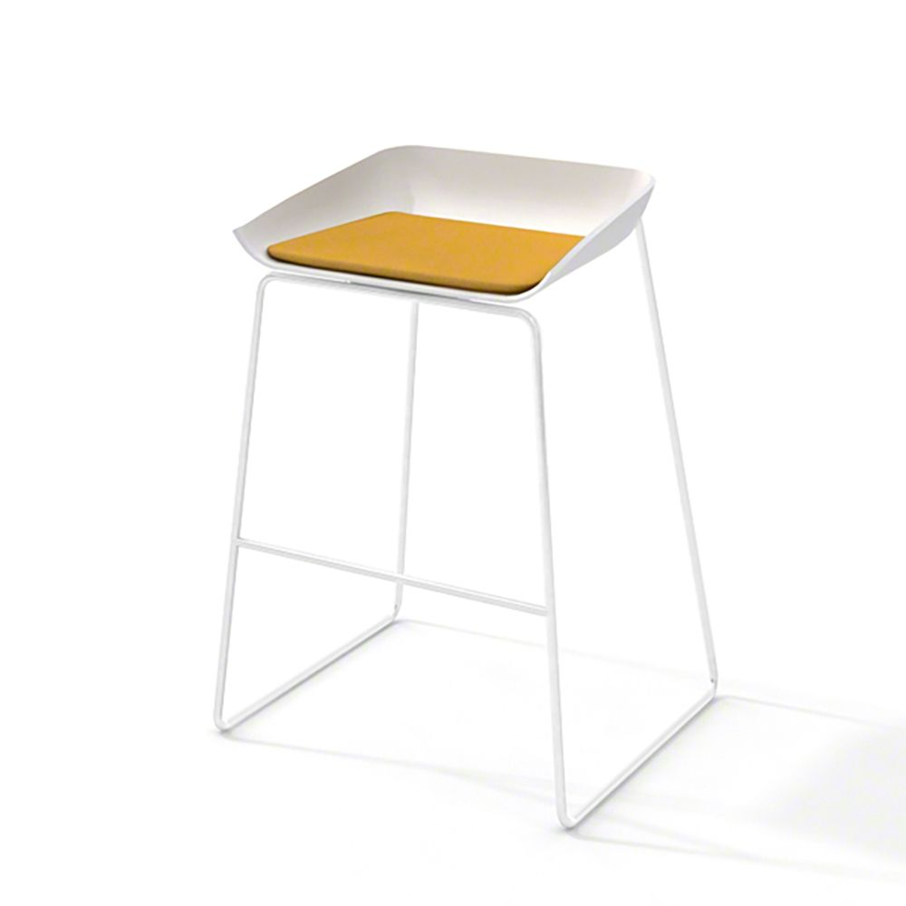 Scoop Bar Stool Yellow Seat Pad White Frame Bar Stools Stool