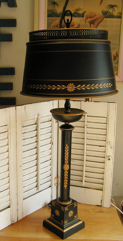 Vintage Tall Black And Gold Classic Tole Table Lamp Black Torchiere Style Black Table Lamps Black Lamps Lamp