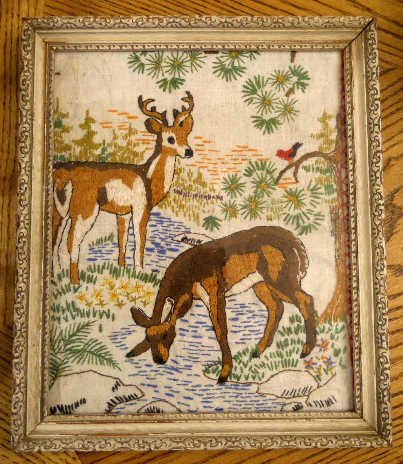 Mid Century VTG Needlepoint Embroidery Hand Embroidered Deer Picture with Frame - Pictures