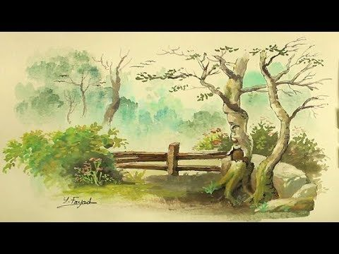 Simple Watercolor Painting Landscape With Yasser Fayad Youtube Watercolor Landscape Paintings Watercolor Paintings Easy Watercolor Landscape