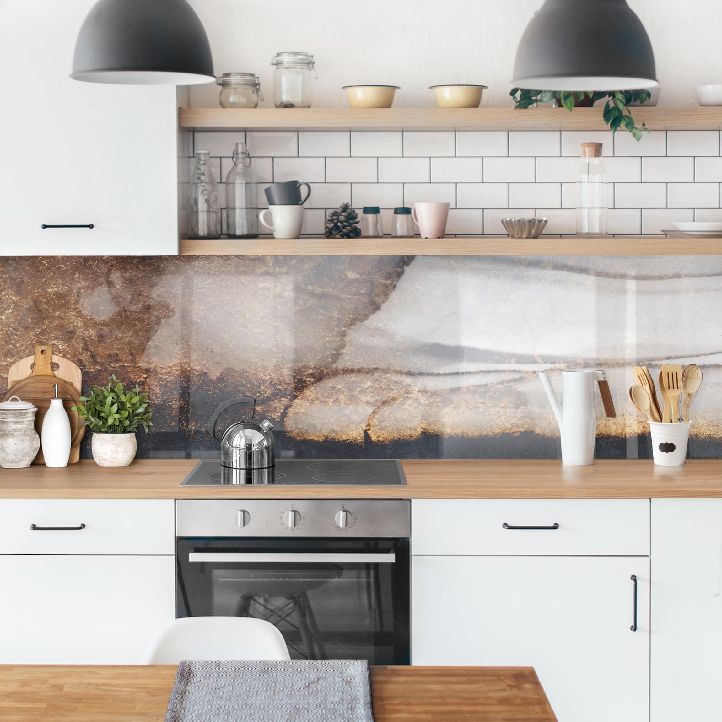 Rivestimenti Cucina Oro Marmo Painted Nel 2020 Paraschizzi Cucina Paraschizzi Piastrelle Cucina