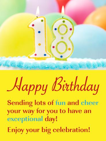Celebration Cake Balloons Happy 18th Birthday Card Birthday Greeting Cards By Davia 18th Birthday Cards Happy Birthday 18th Birthday Wishes