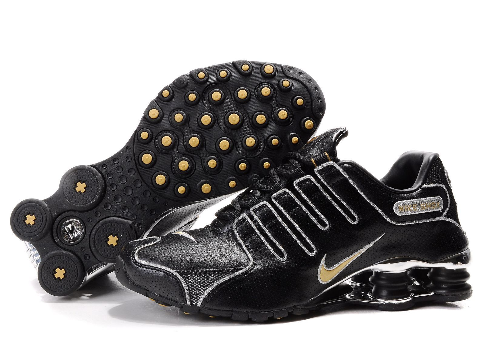 huge selection of 0a2be 35cb8 Mens Nike Shox NZ Running Sneaker Black Gold