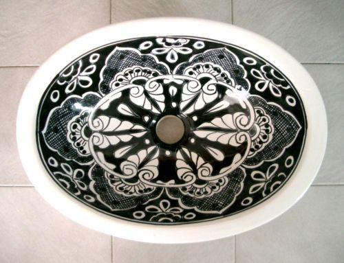 #86) 17x14 Mexican Sink Ceramic Black+pure White